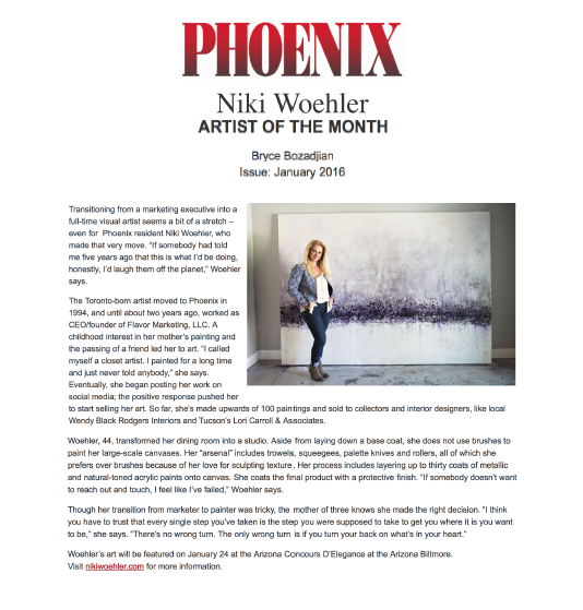 Phoenix Artist of the Month | Niki Woehler Scottsdale Abstract Artist