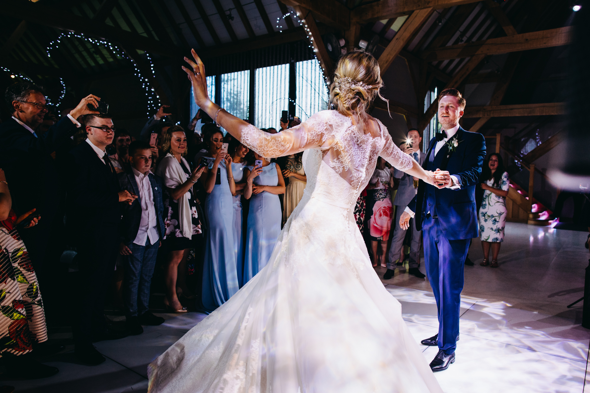 A professional photo of a couple's first dance on their wedding day