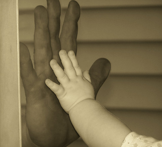 Daddy and baby hands
