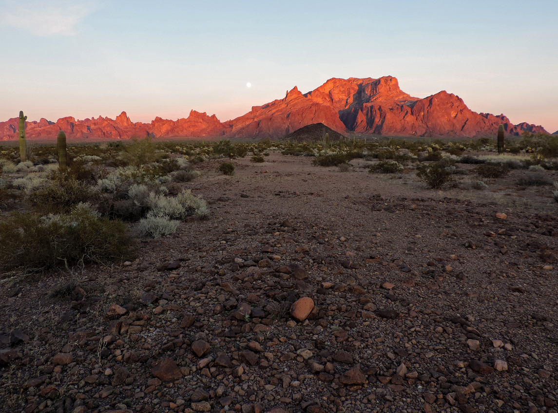 Kofa Mountains molten in the sunset, western Arizona.
