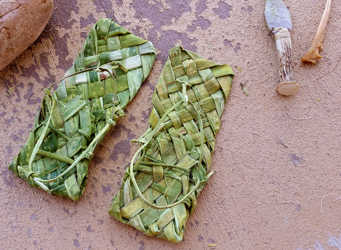 The finished plaited yucca sandals. The greener one is today's.