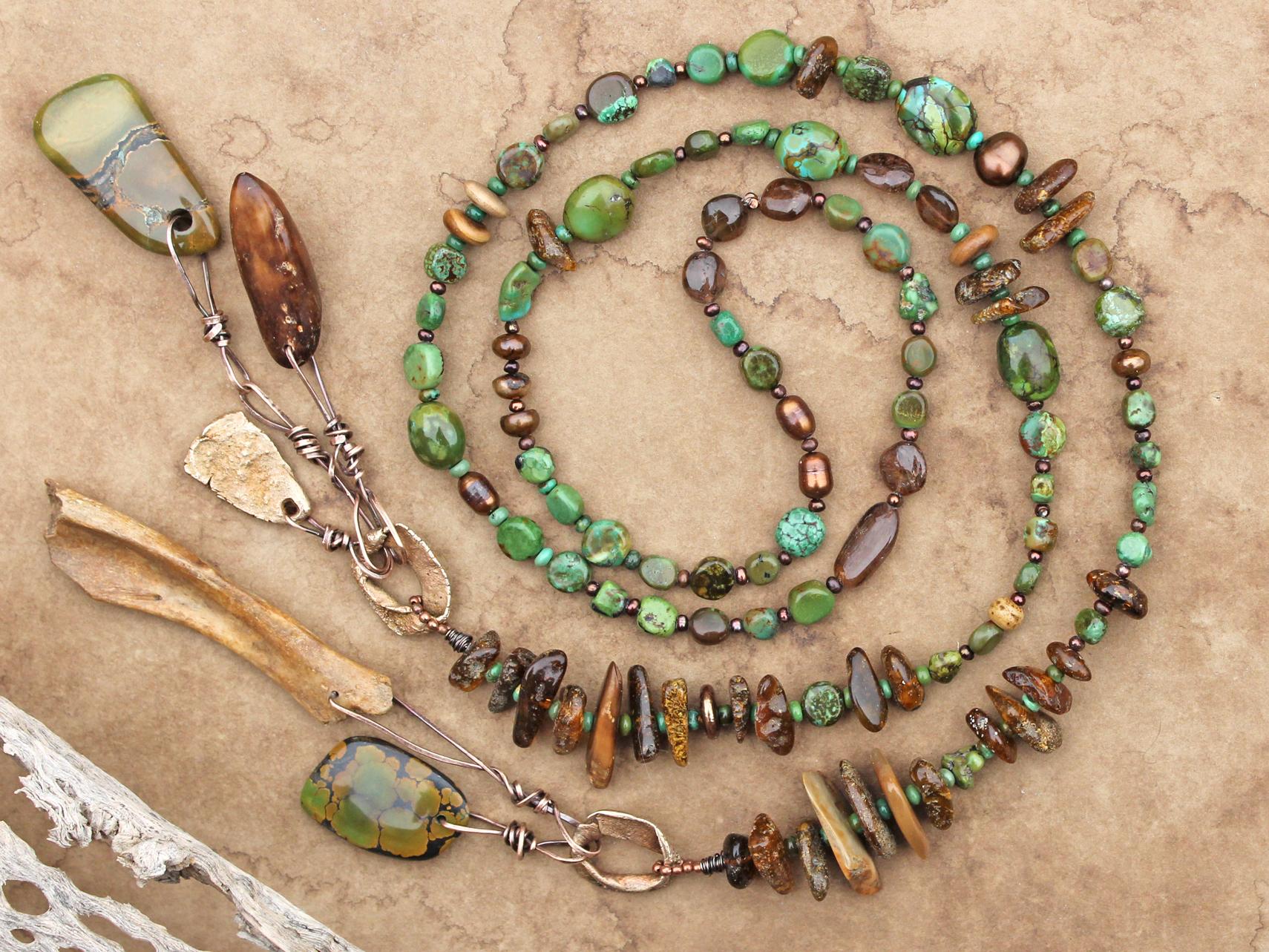 Jade /& Turquoise Beaded Lariat Necklace