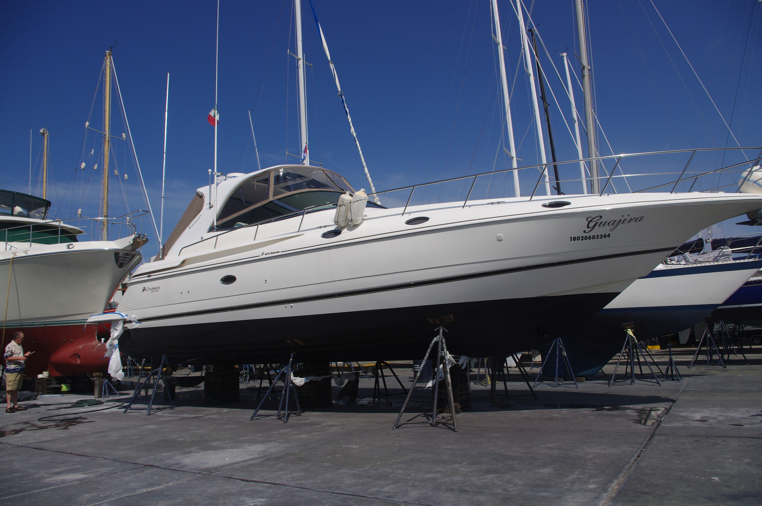 Cruisers 44' under our management in the boat yard.  New bottom paint