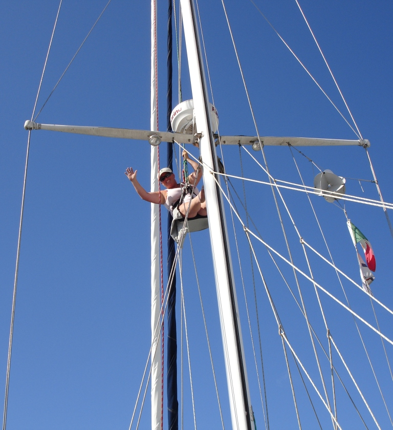 Up the Mast checking the rigging