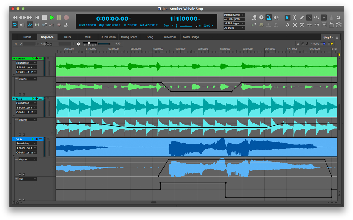 Digital Performer 9 - our major workhorse in the studio.
