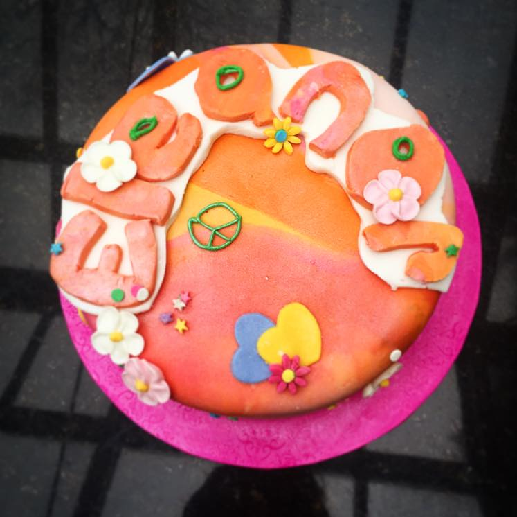 60's inspired birthday cake