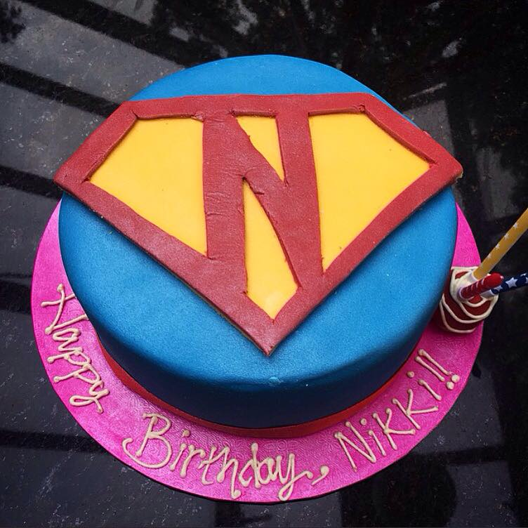 """Superman"" inspired rainbow cake"