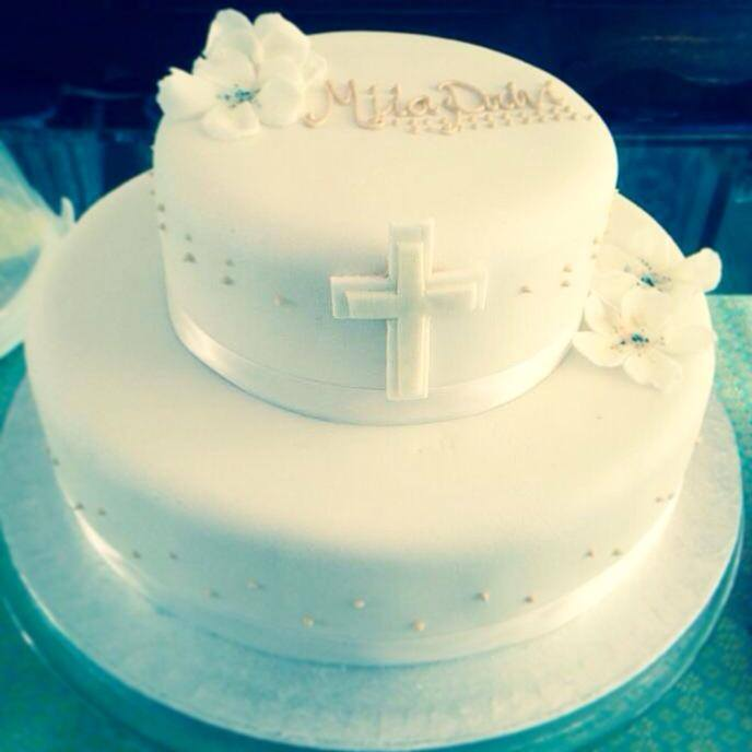 White and Caramel Christening Cake.