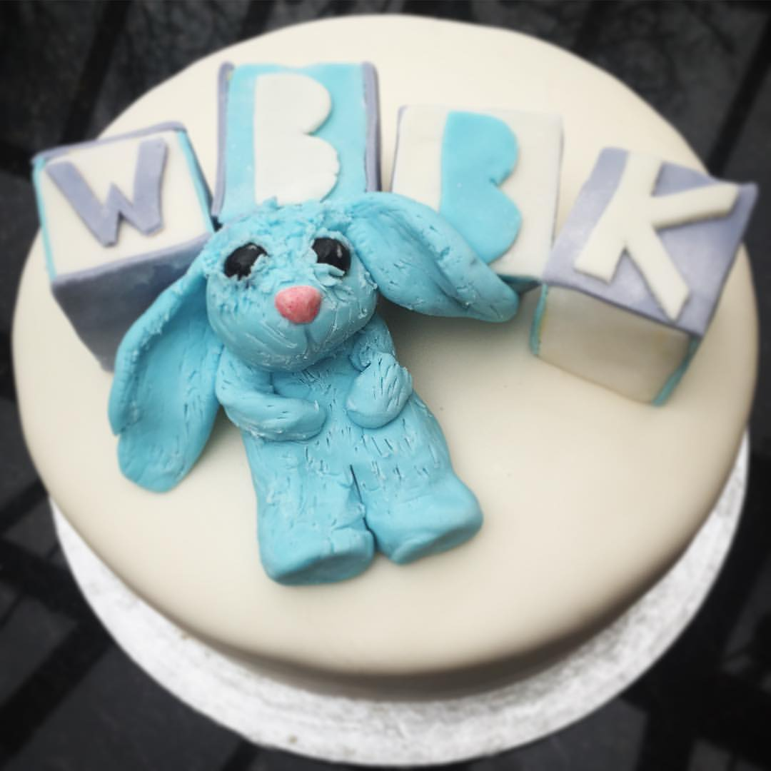 Baby's Favourite Toy & Initials Christening Cake.