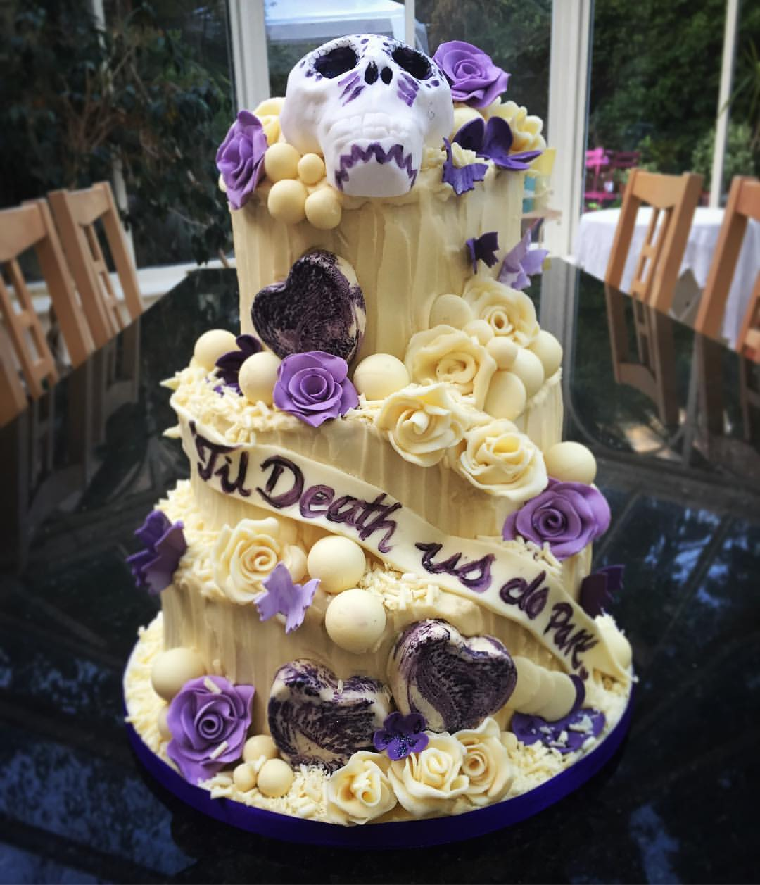 Skull and Roses Chocolate Wedding Cake.