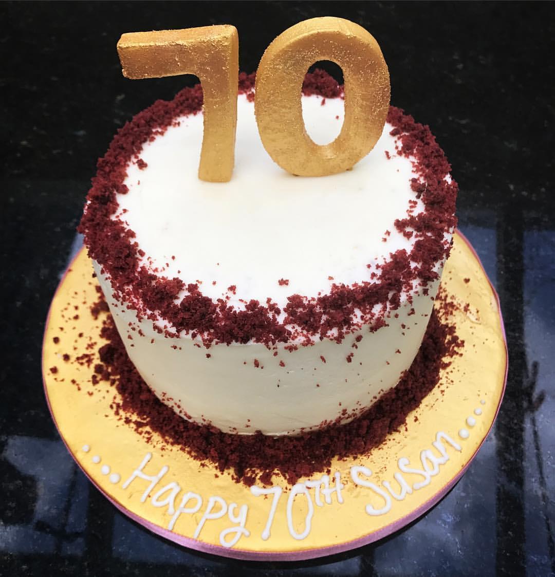 70th Birthday Red Velvet Cake
