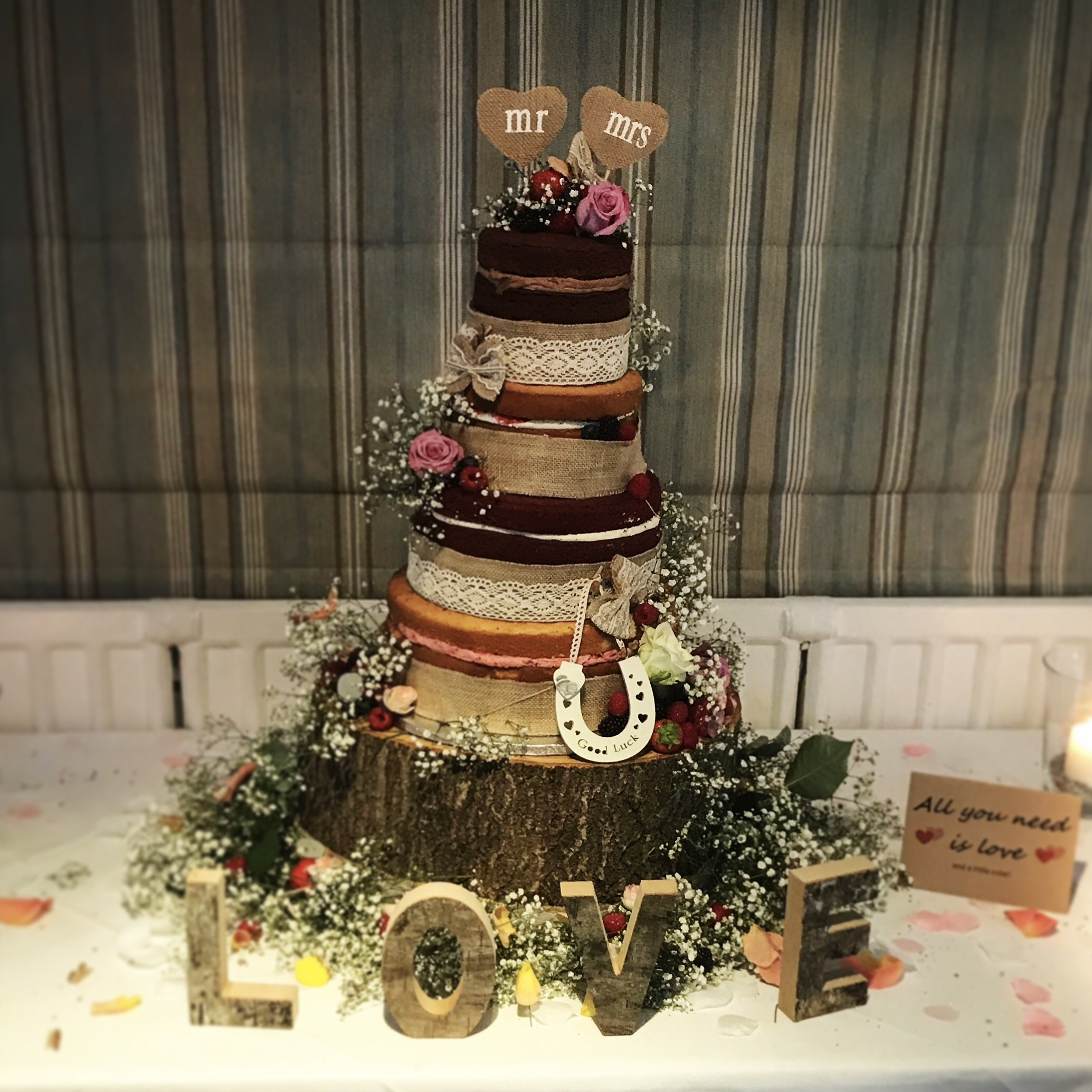 Bespoke Naked Wedding Cake.