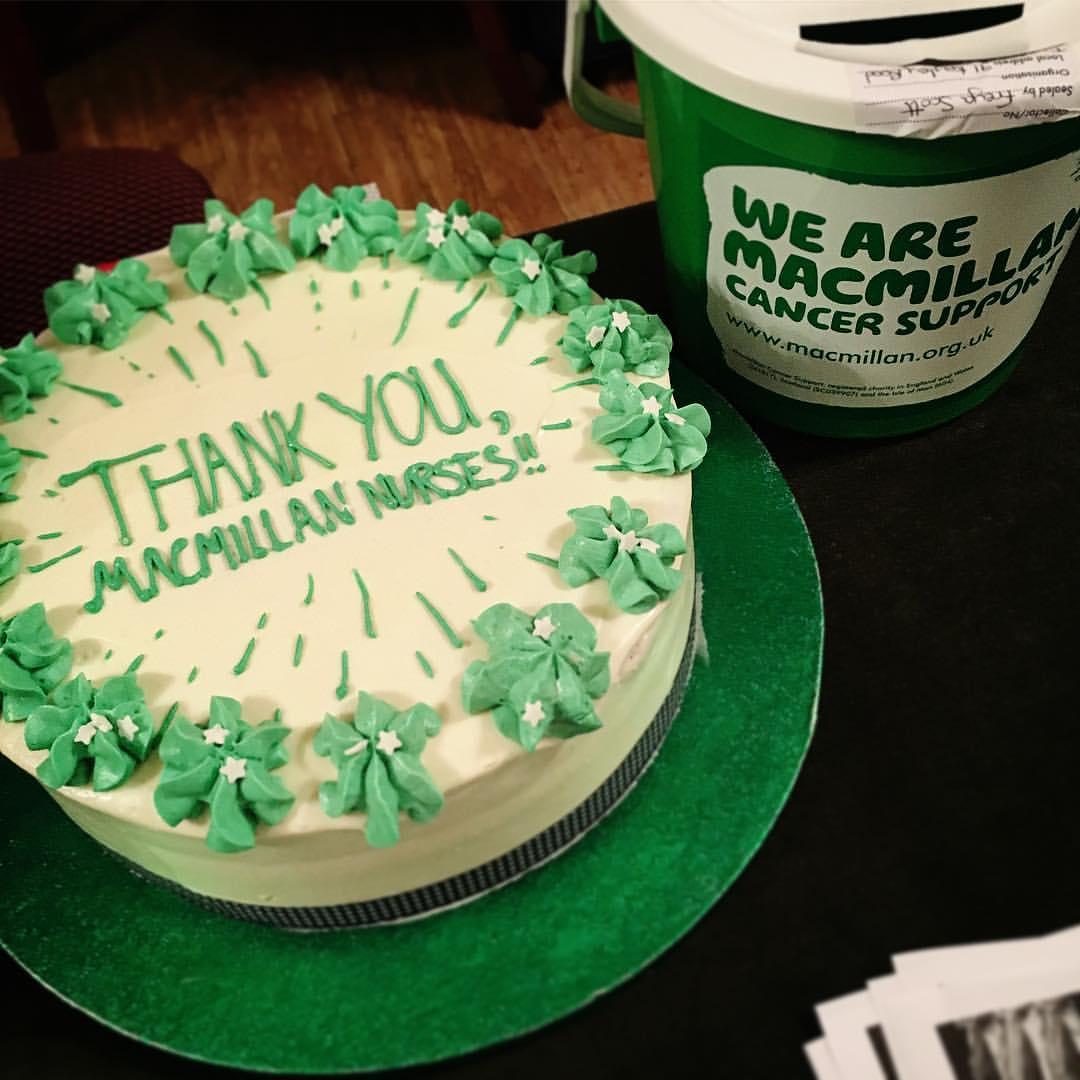 Macmillan Charity Event Green Velvet Cake.