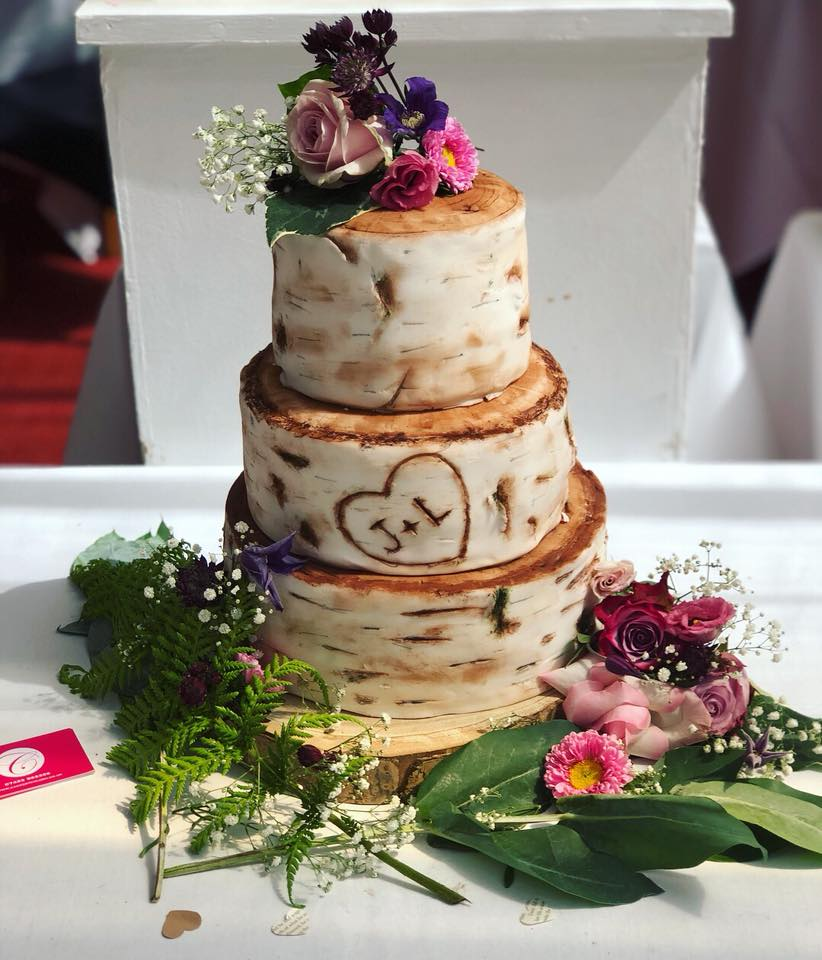Birch Tree Stump Wedding Cake
