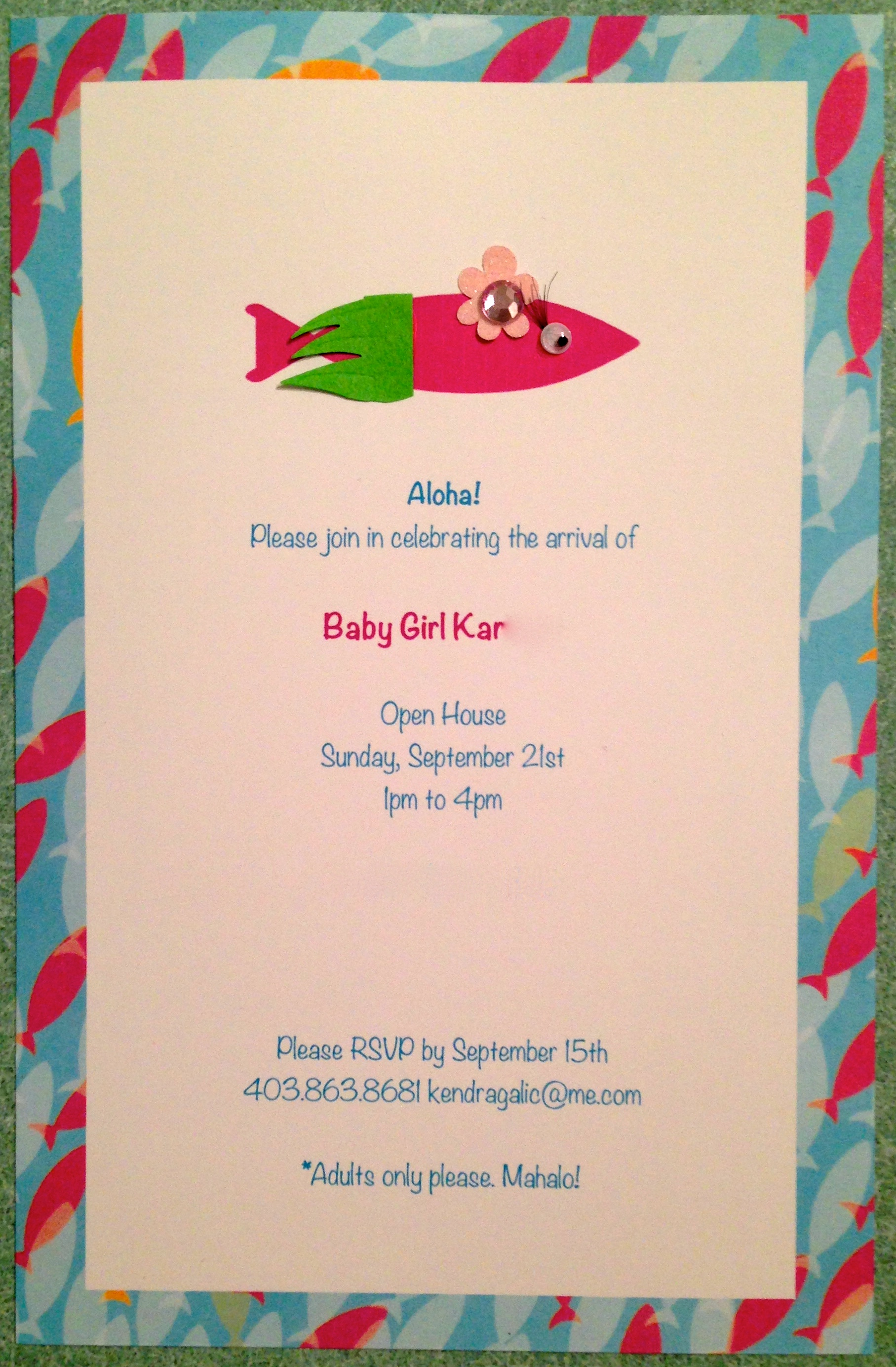 Home-made Baby Shower Invitations