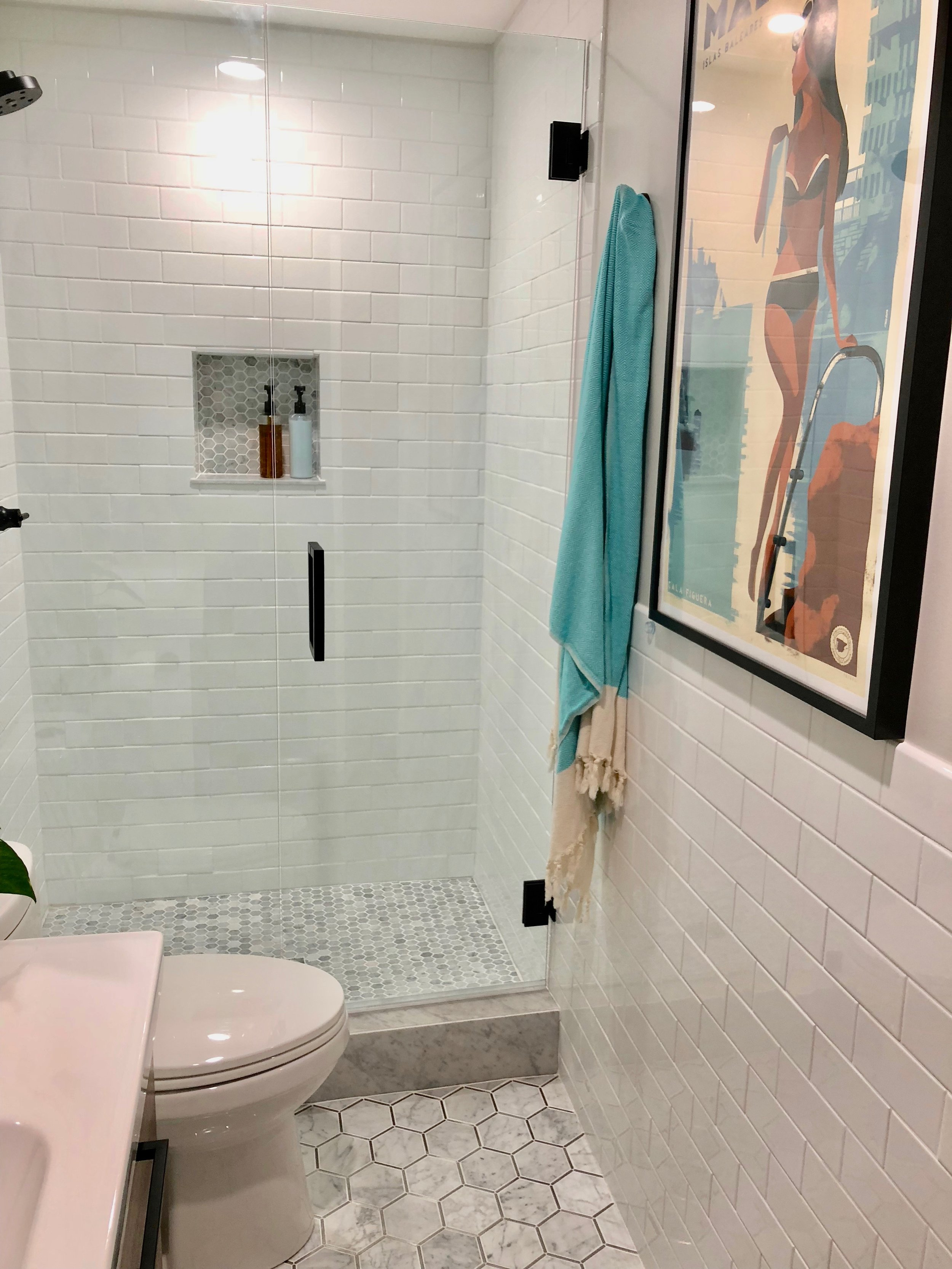 That's a lot of subway tile! Its on all 4 walls.