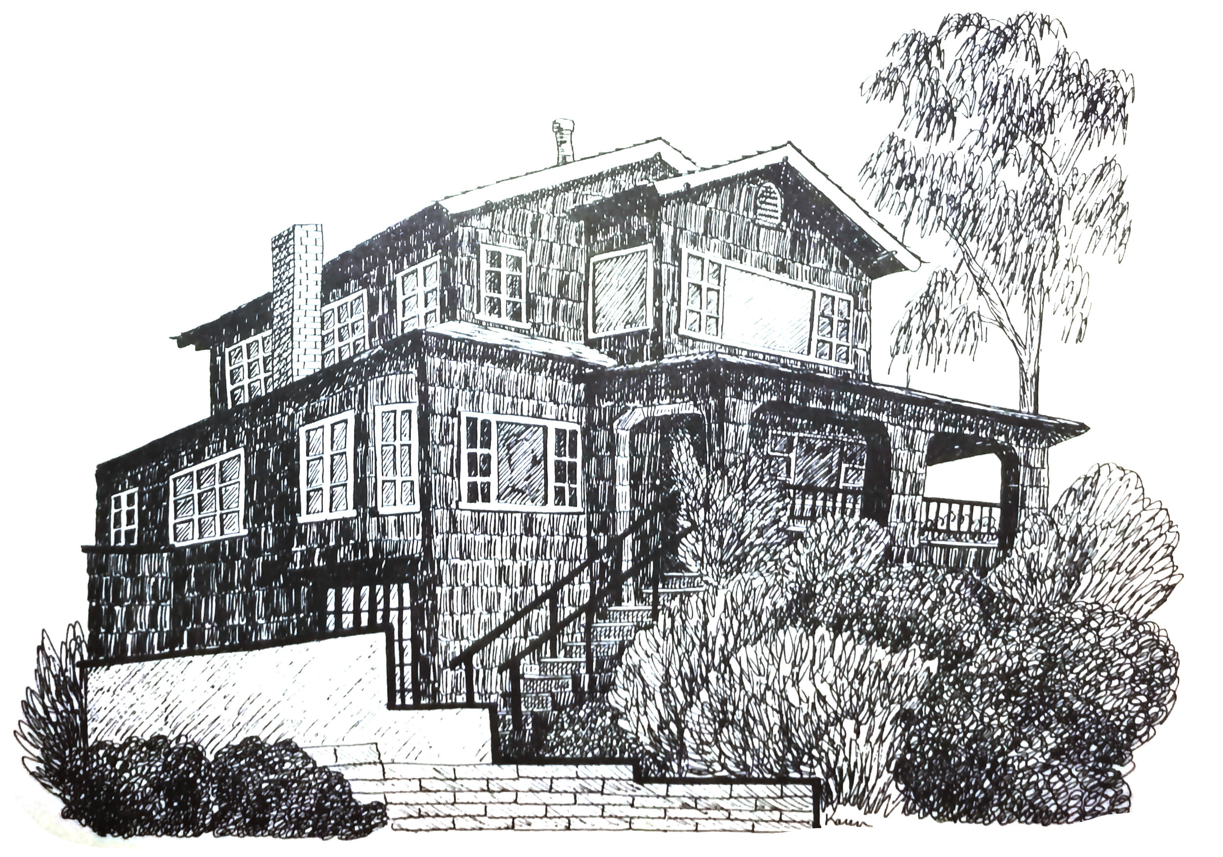 2192 Ocean Way - This Large Craftsman home was built in the Summer of 1927 for E.H. Newland of Hollywood.