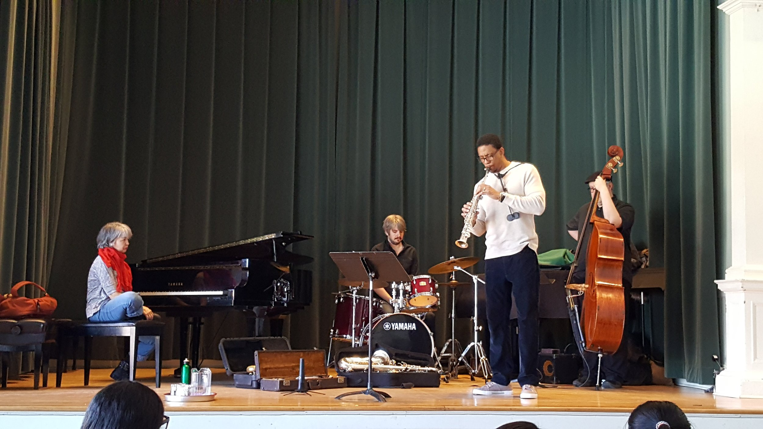 Jazz workshop with Carlos Baez, Holly Arsenault, Lukas Pearse, and Damien Moynihan at Woodwinds and Brass Chamber Day, Feb. 23, 2019