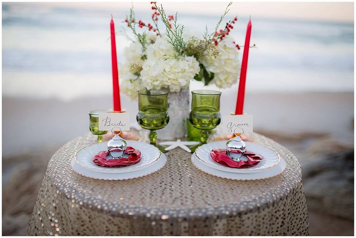 winter beach inspiration table details flowers @psjphotography