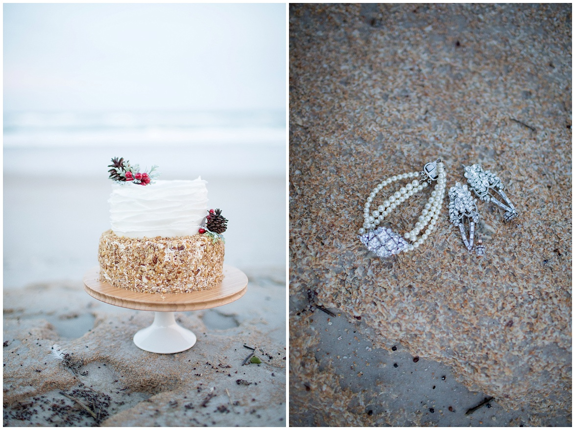 winter beach wedding cake by stevia's got cakes @psjphotography