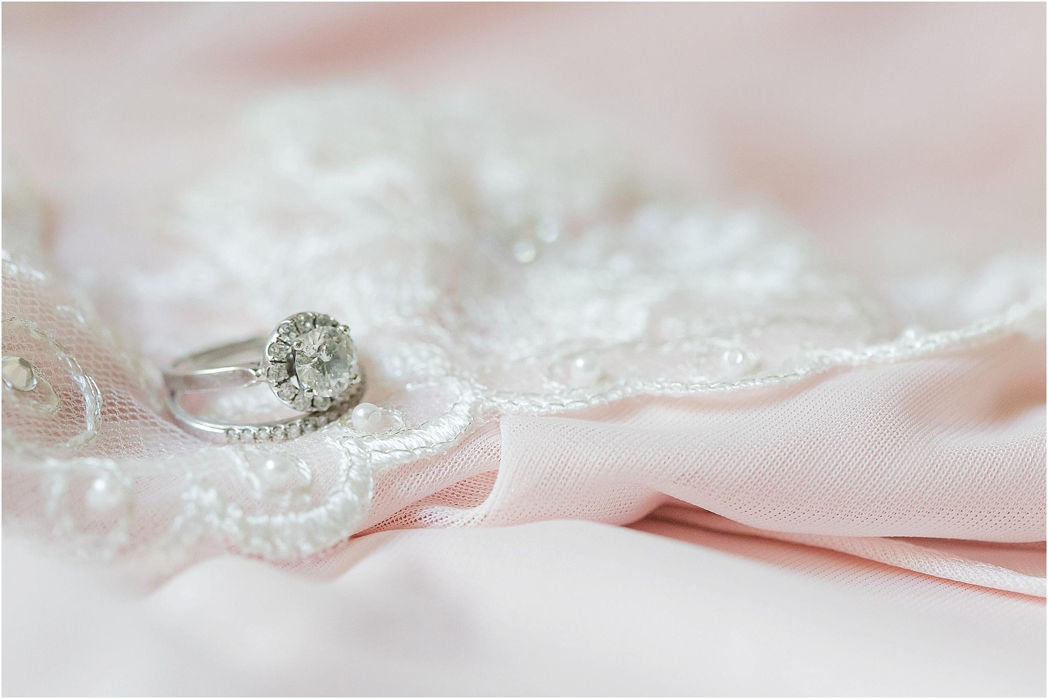 Blush wedding halo engagement ring
