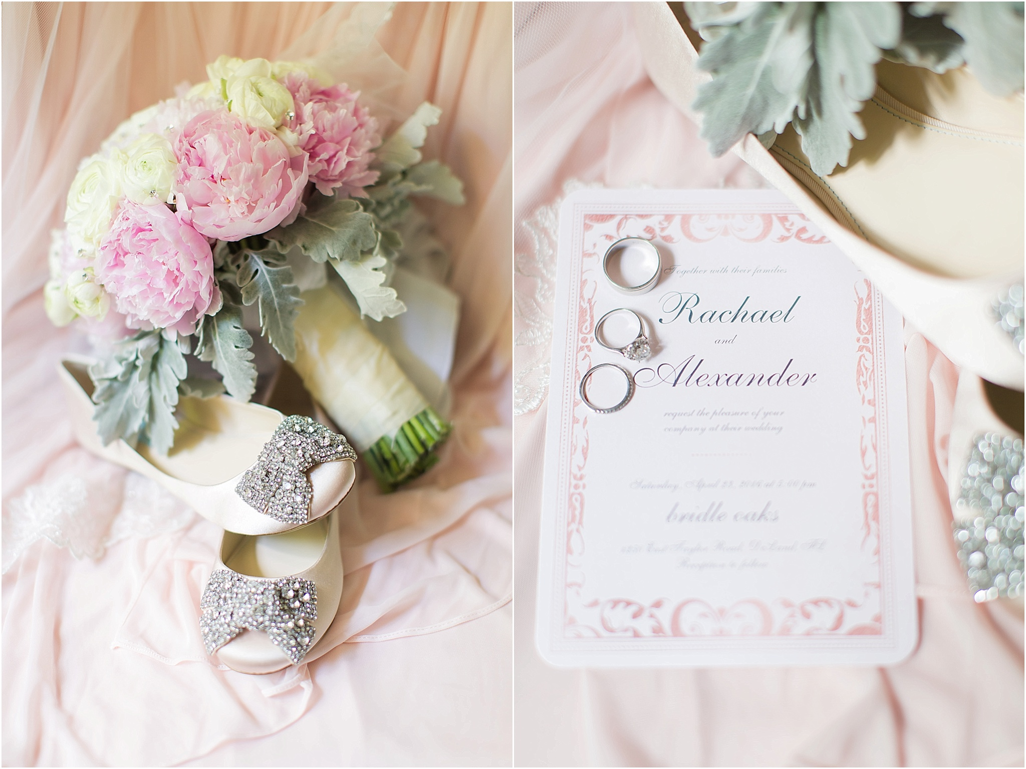 Blush wedding details of bridal shoes, peony bouquet and invitation
