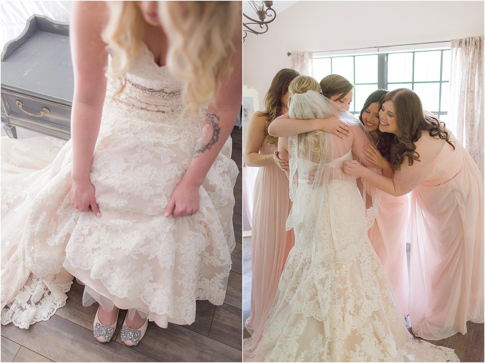 Romantic blush bride getting ready moments