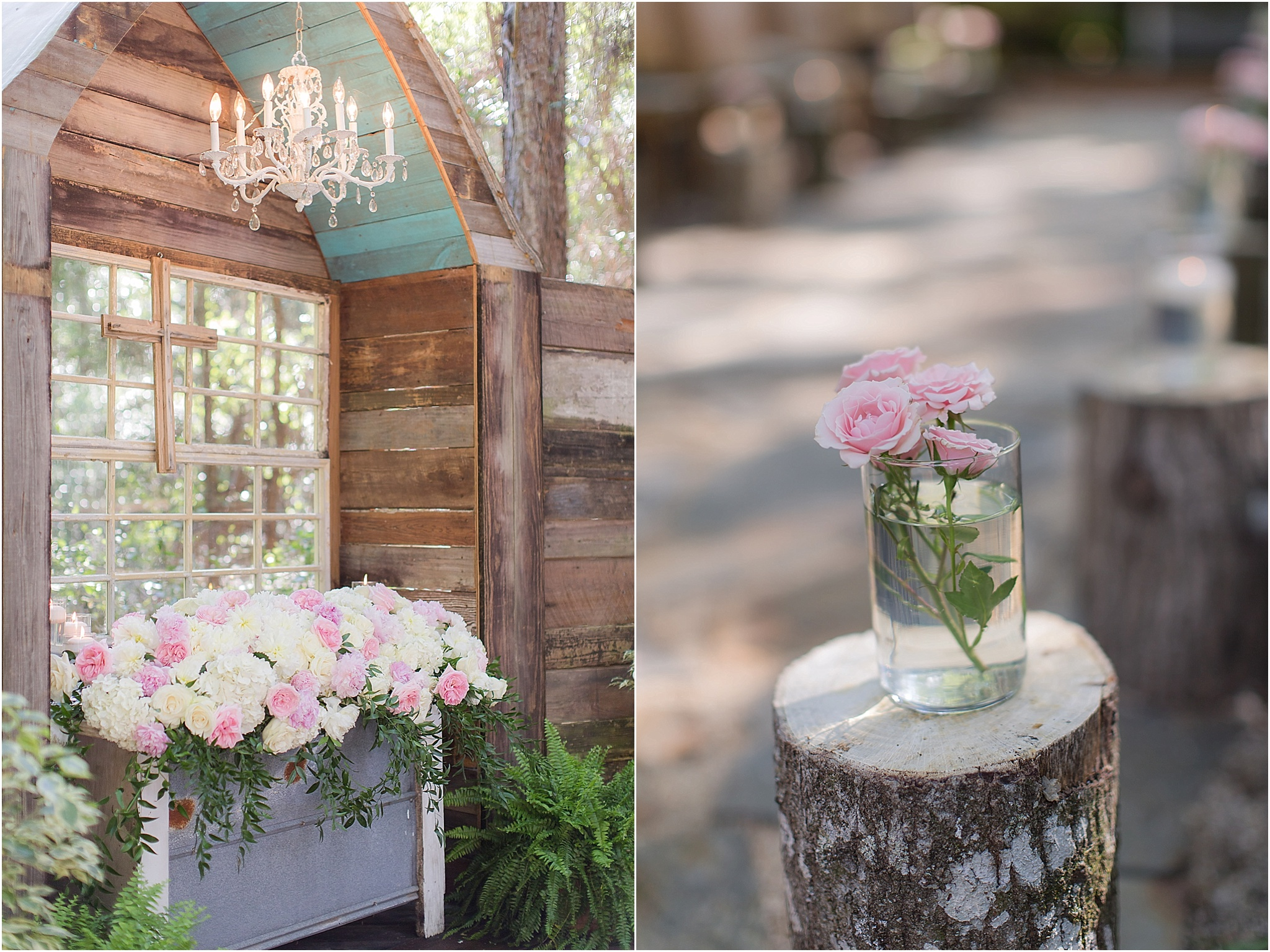 Giant peony ceremony florals at Bridle Oaks Wedding