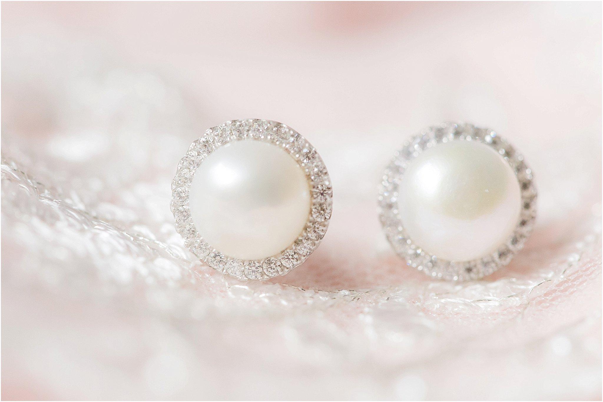 Blush rustic wedding pearl earrings on lace