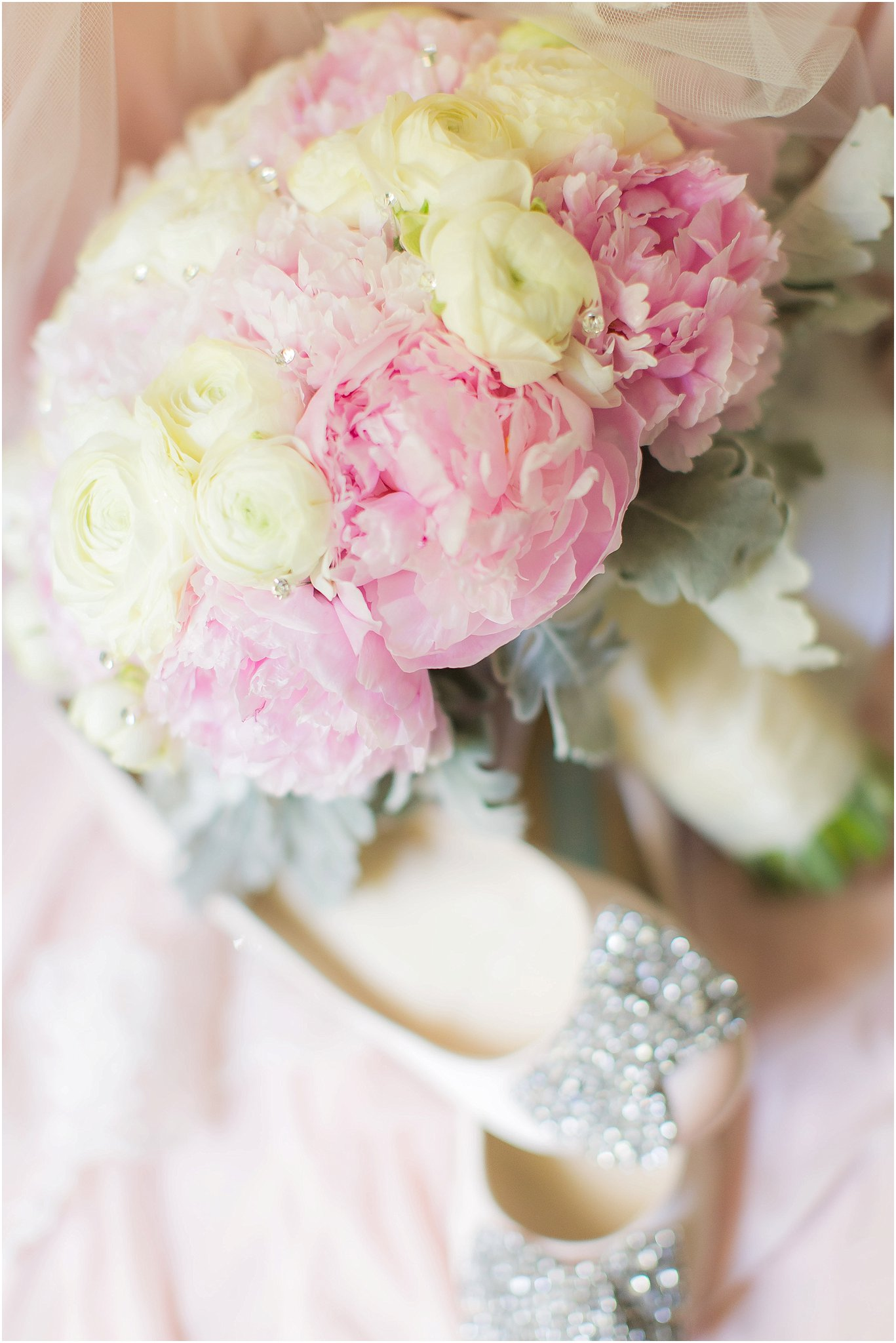 Romantic blush details of peony bouquet and bridal flats