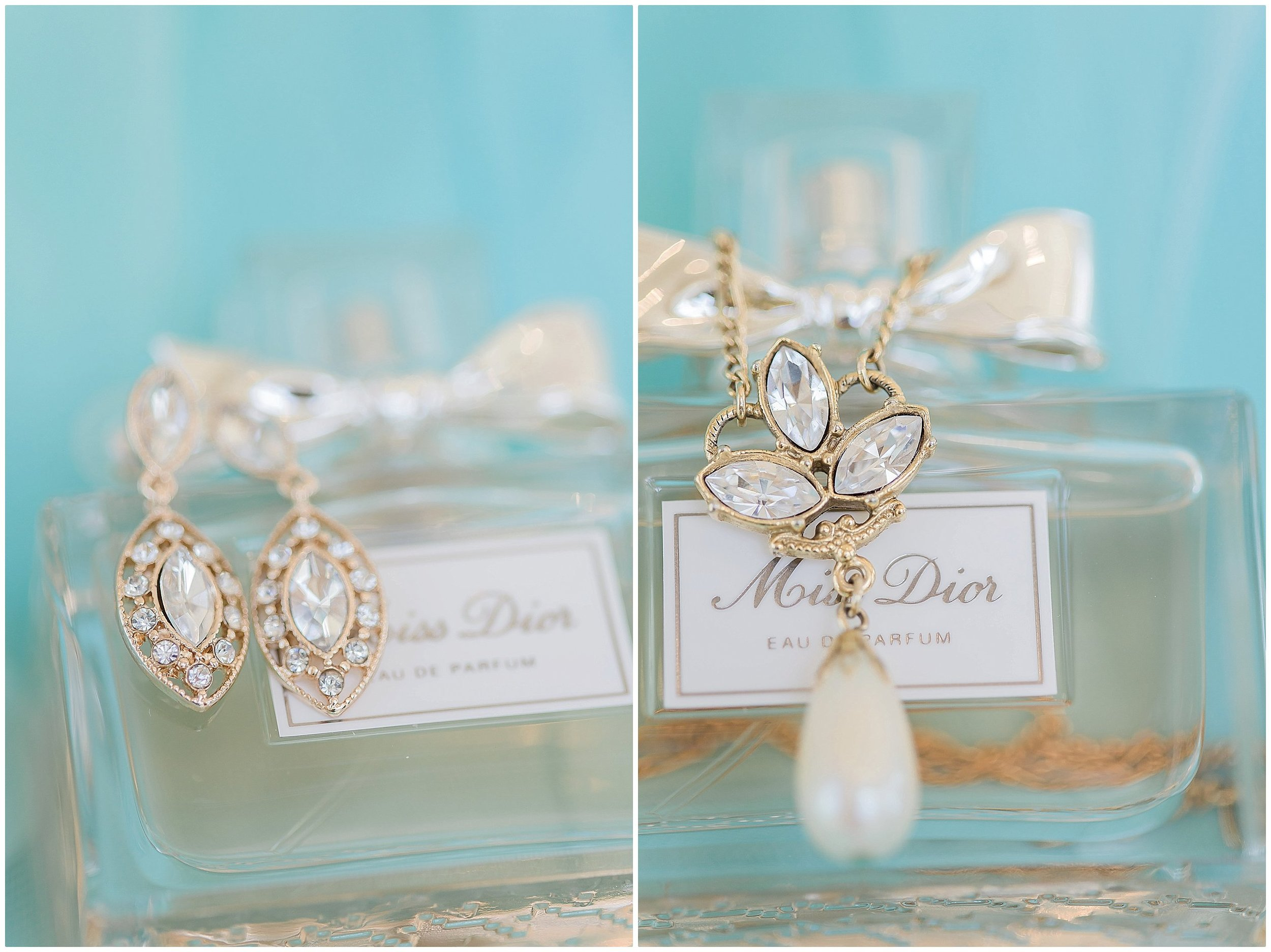 Tiffany Blue Wedding Details, drop earring s and pearl necklace with three stones