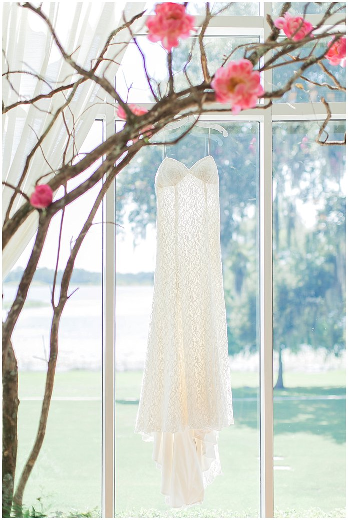 Lacey summer wedding gown under peony