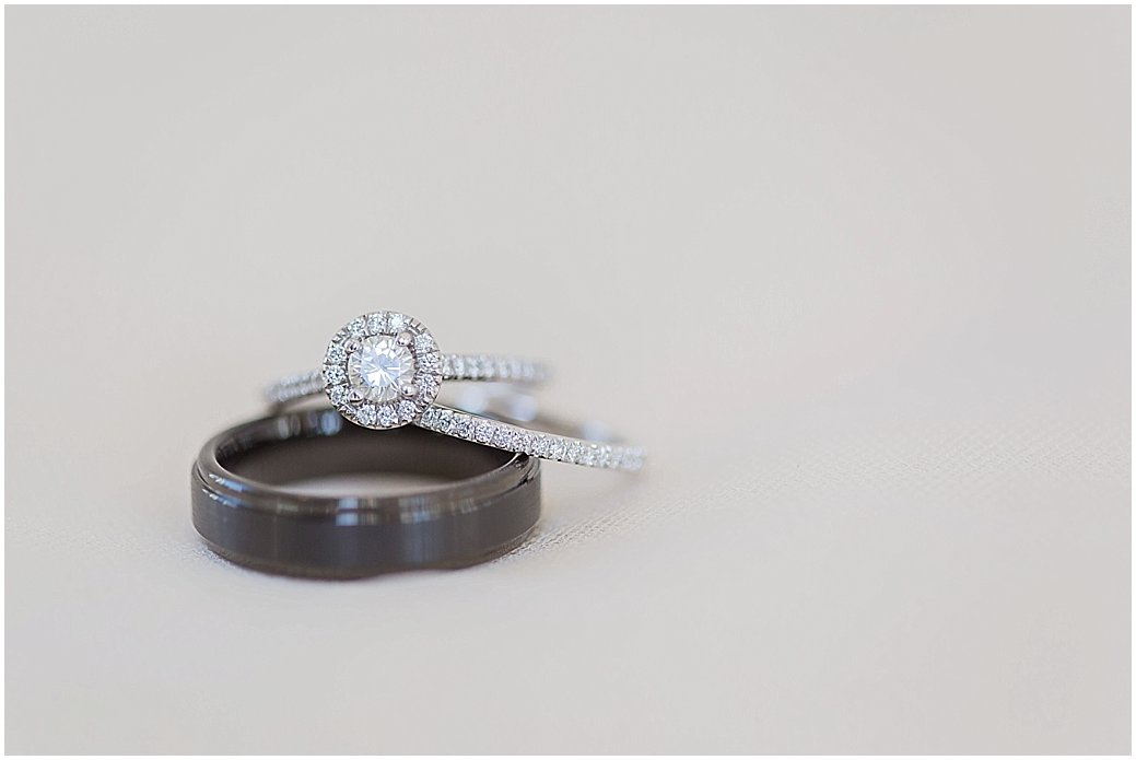 Wedding bands and round halo cut ring at Lake Mary Events Center Wedding