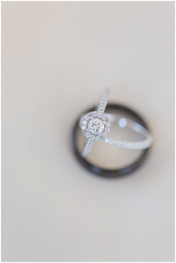 Gorgeous wedding bands and halo round cut engagement ring