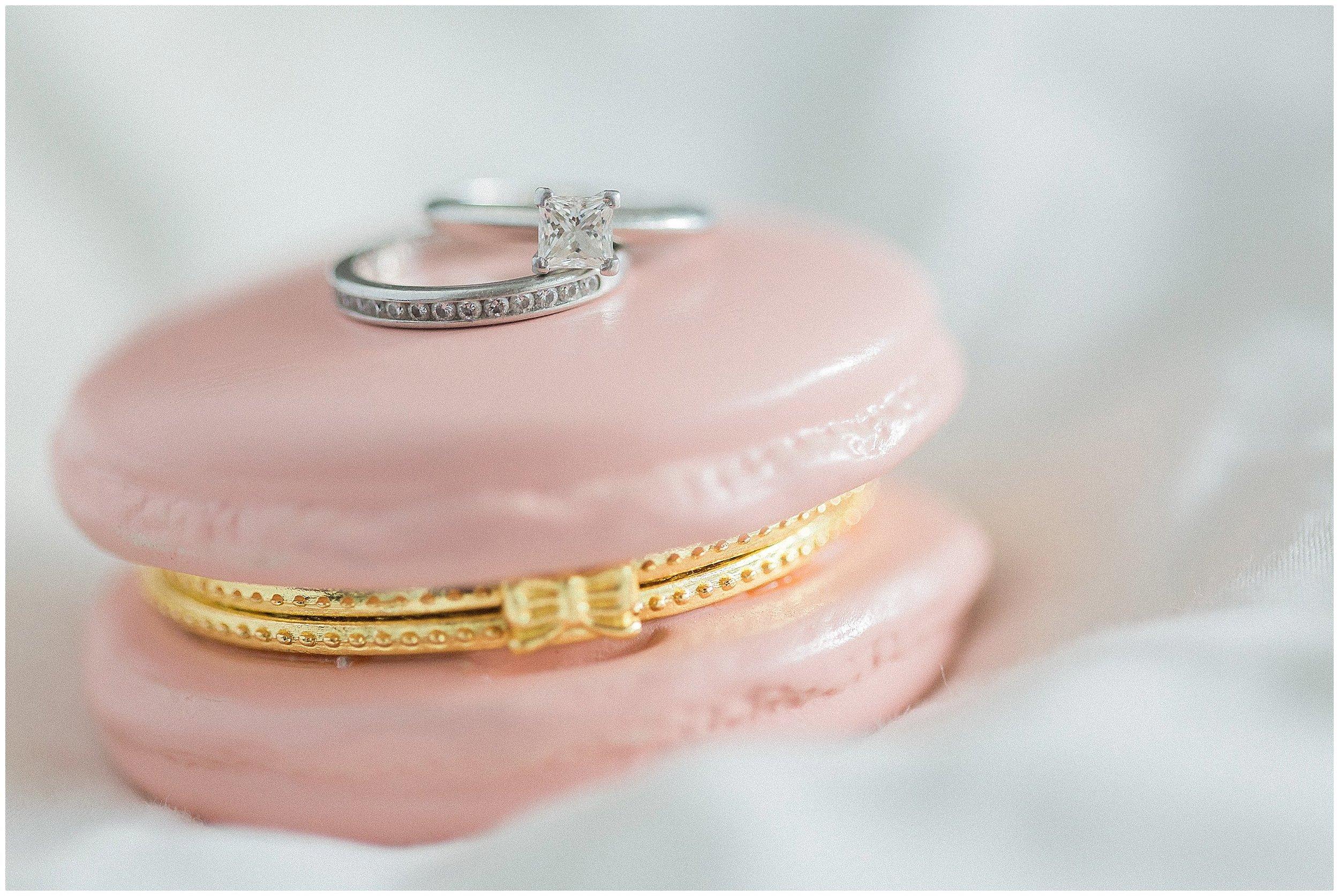 Macaroon trinket holder with princess cut diamond and channel wedding band