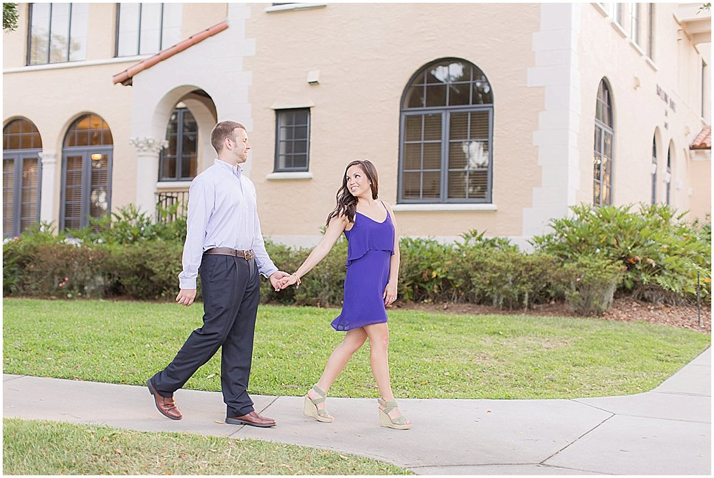 Rollins College Engagement in Winter Park Florida.  PSJ Photography, DeLand, FL Wedding photographer.