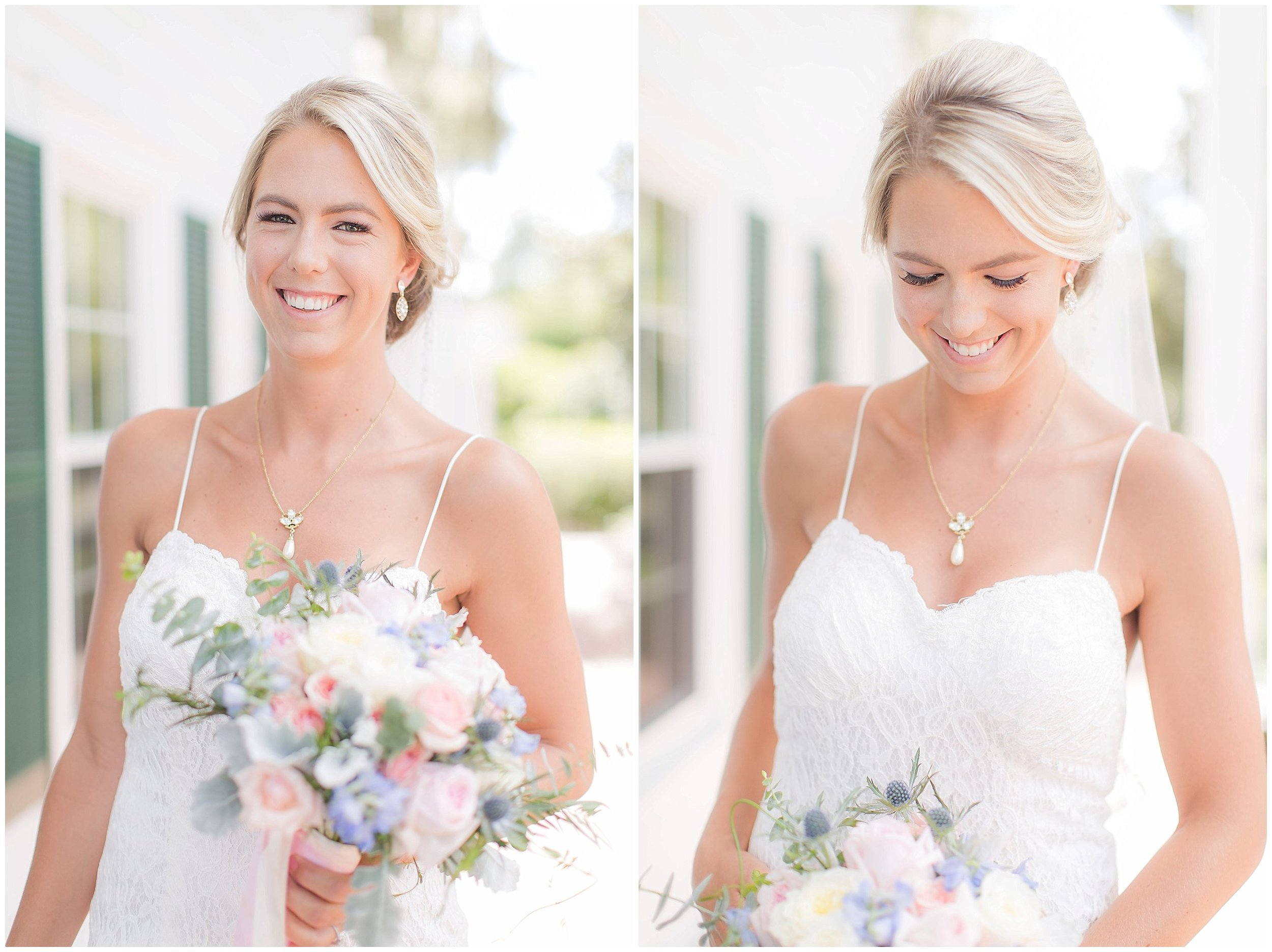 Bridal Portraits with dusty blue and blush florals