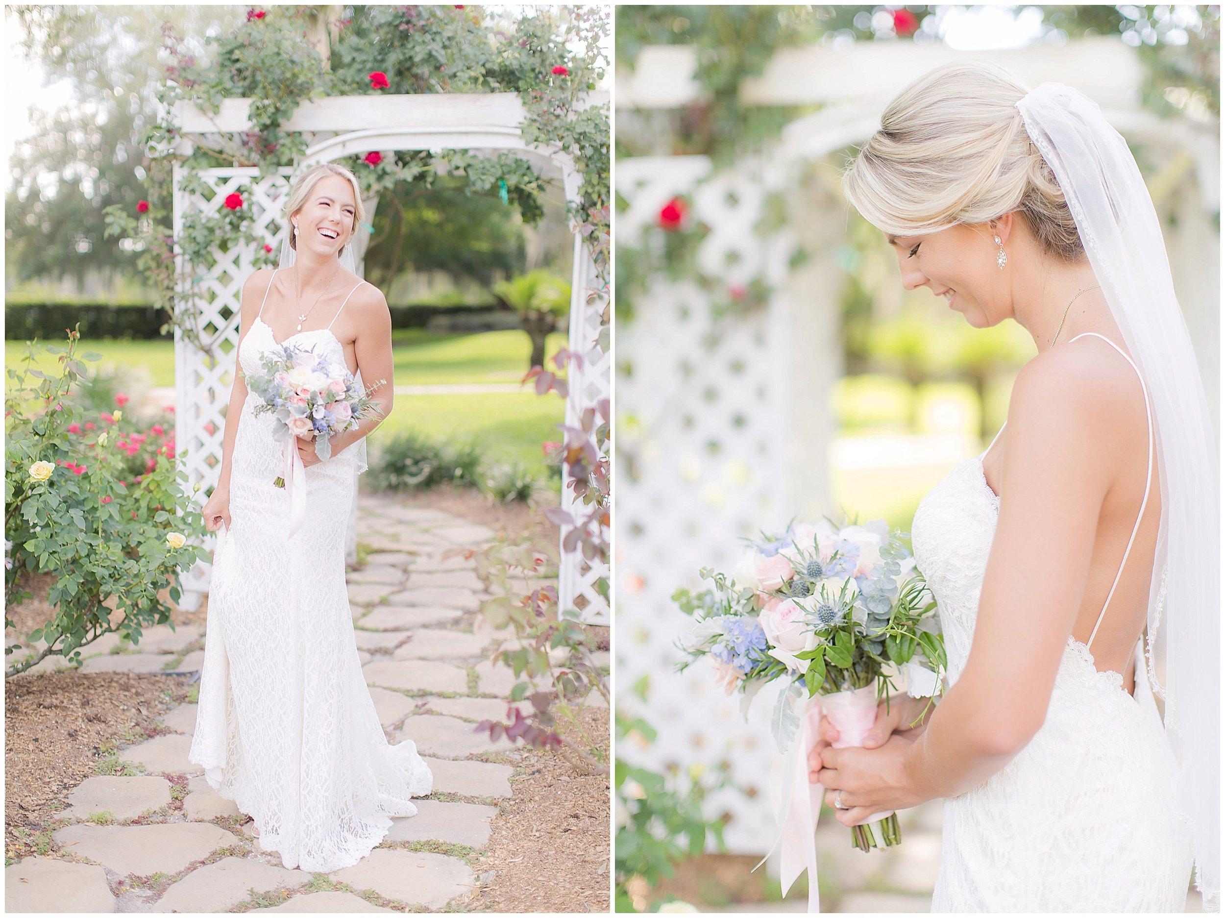 Bridal Portraits in rose garden with short veil and summer wedding gown