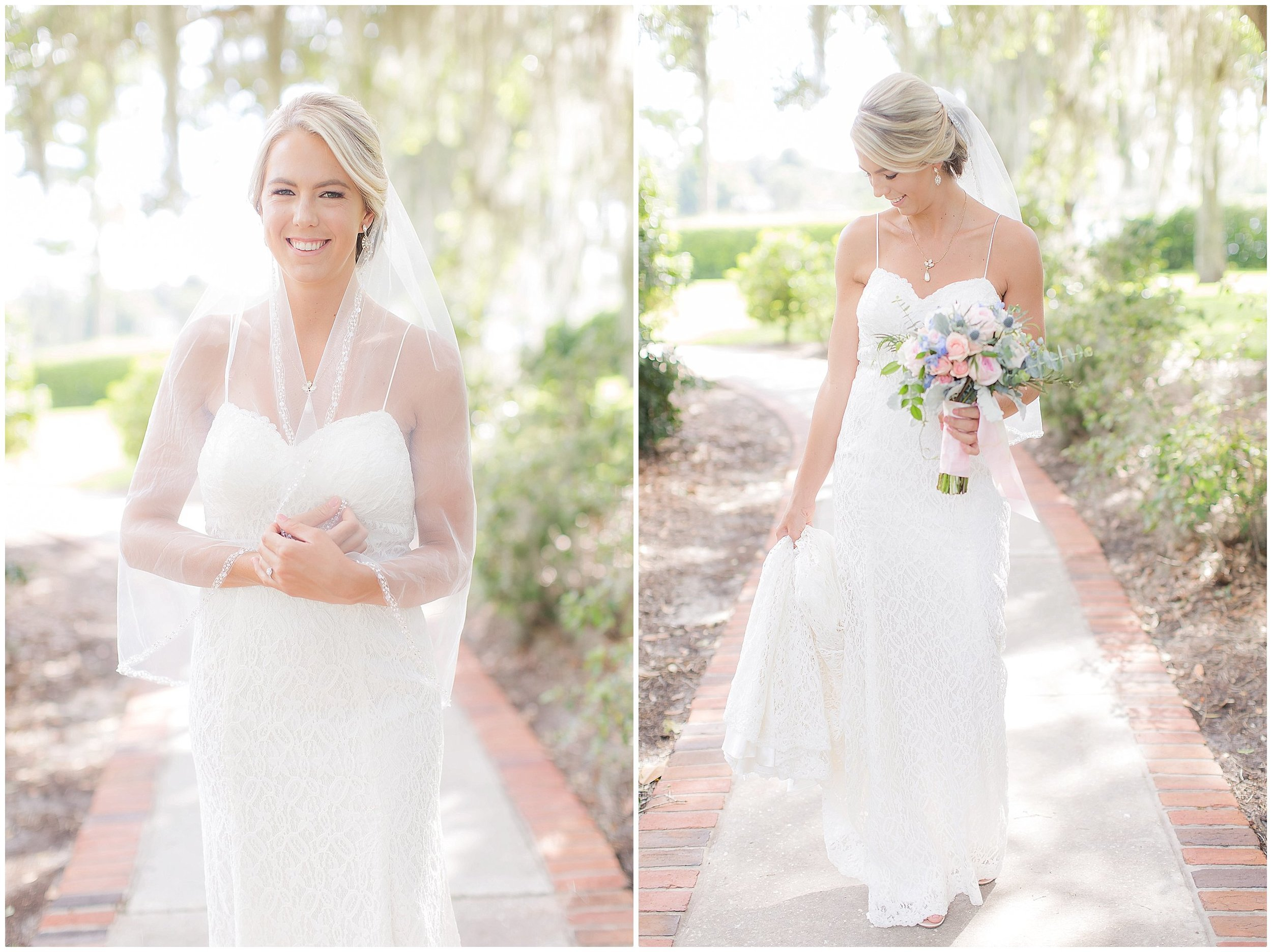 Lacy summer wedding gown bridal portraits