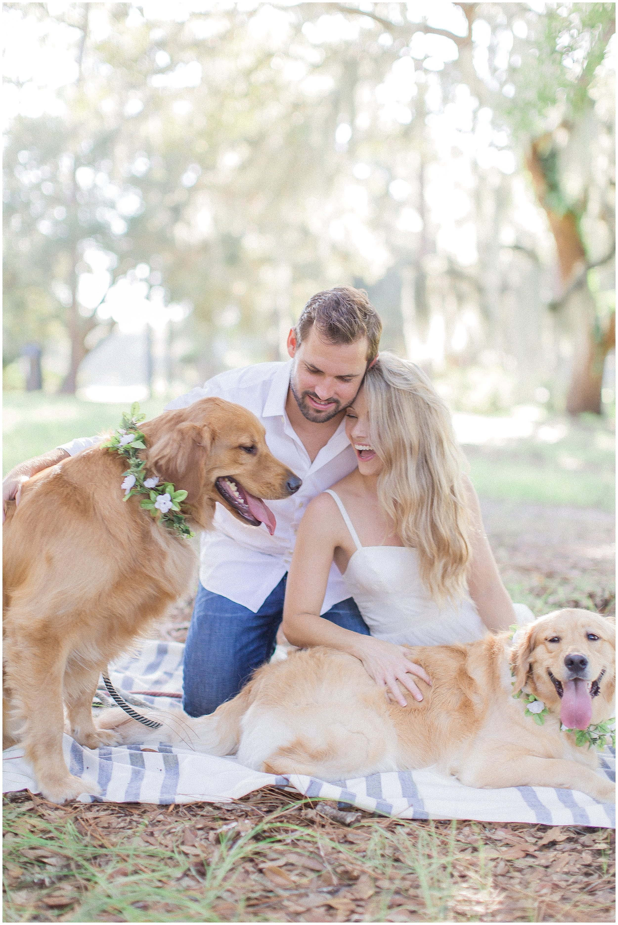 Puppy Engagement Session with Two Goldens and Floral Collars
