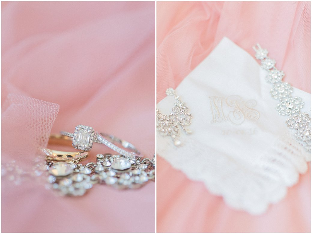 Blush Wedding Details of Emerald Cut Engagement Ring and Monogram Handkerchief