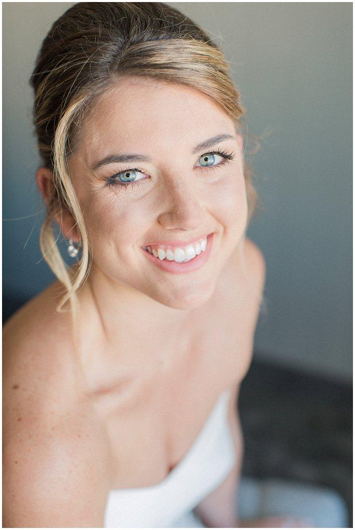 Gorgeous Bridal Portrait of Bride in Hayley Paige with Low Bun