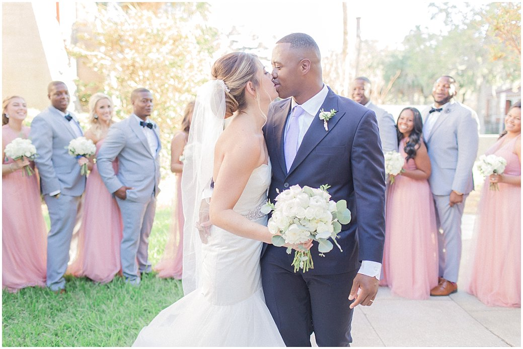 Blush and Grey Bridal Party at River House Wedding in St Augustine