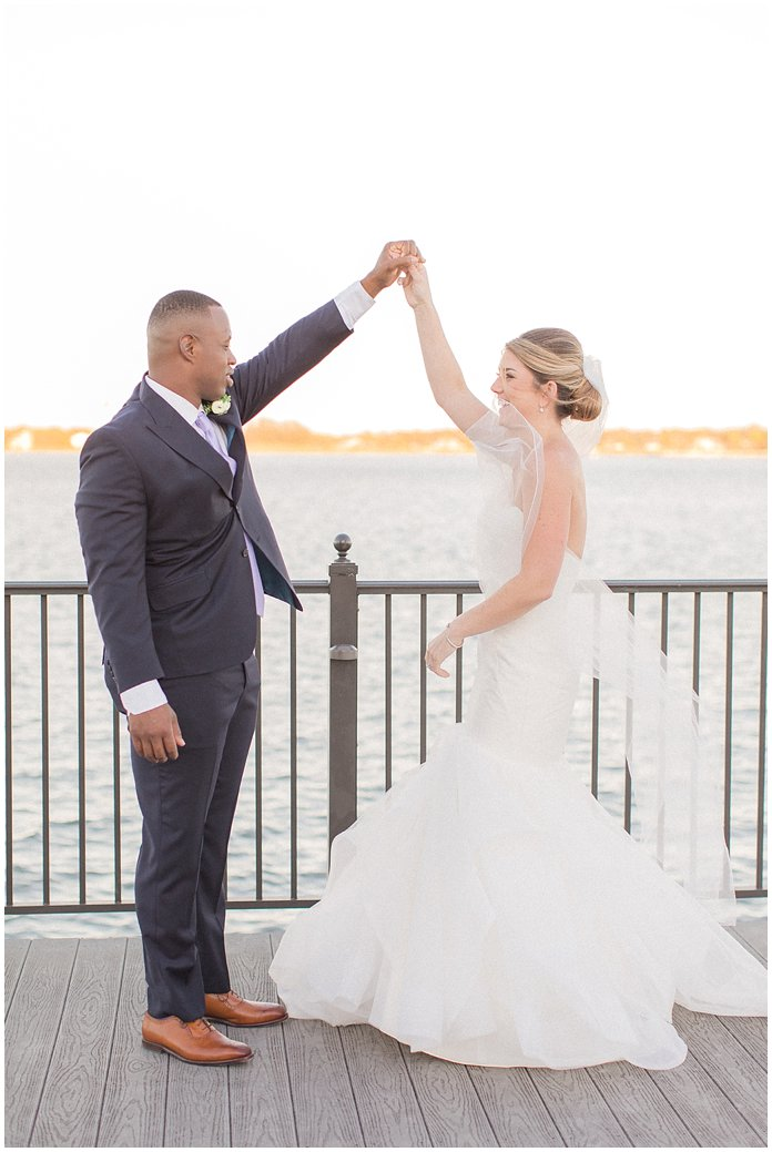 Bride and Groom Romantic Poses on Dock in St Augustine at the River House