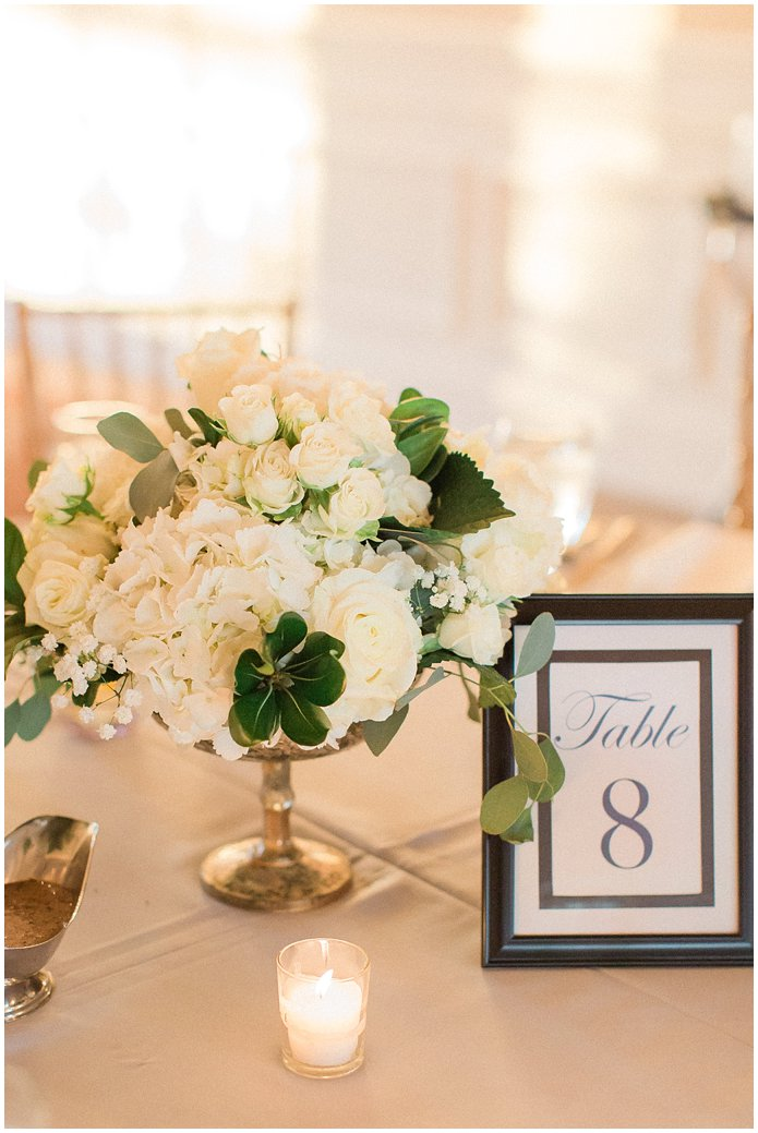Light Grey and White Reception Details at the River House in St Augustine.