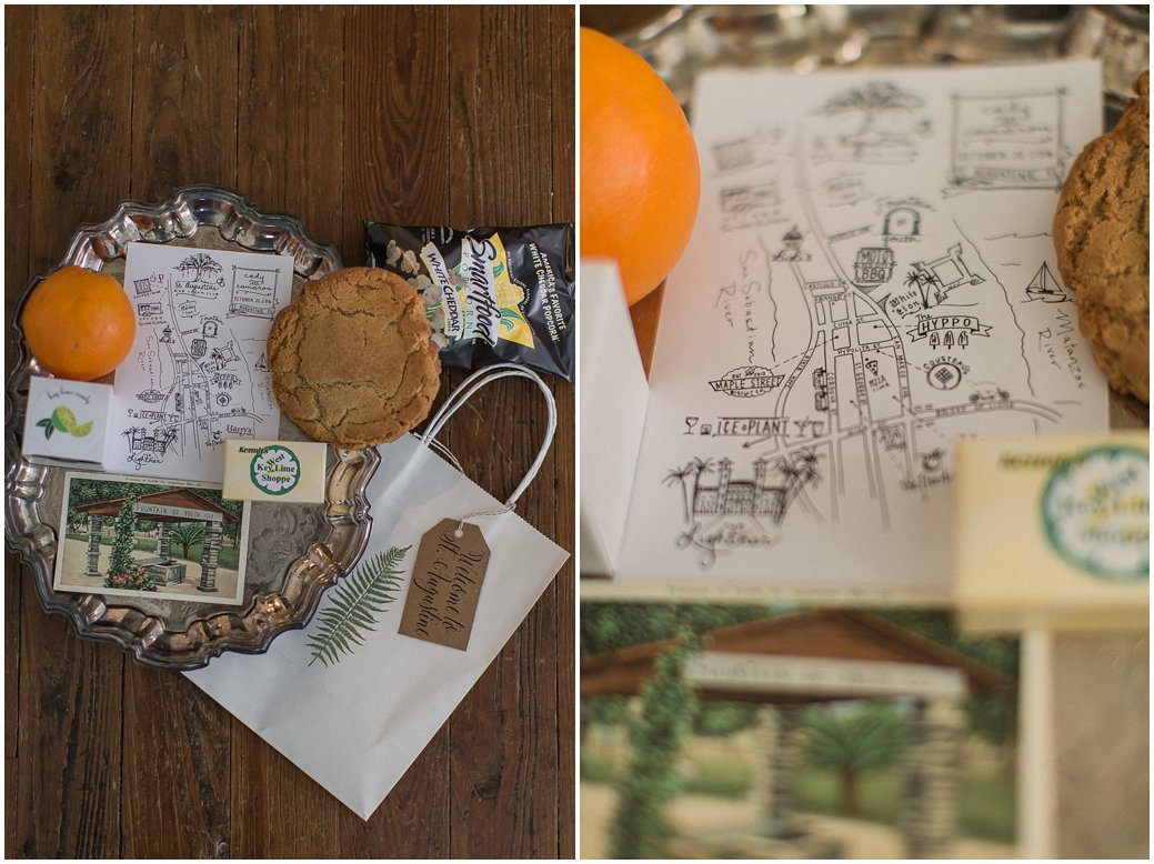 Welcome Bag for Destination St Augustine Wedding with Oranges and Key Lime and a Hand Drawn Map
