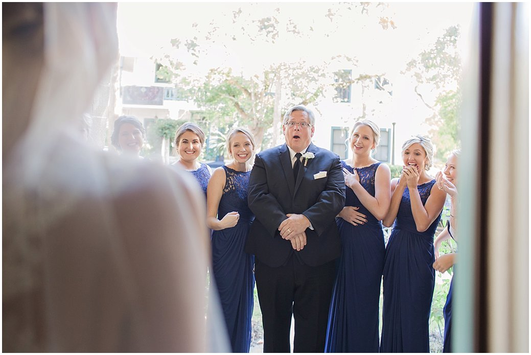 First Look of Bride by her Bridesmaids and Dad
