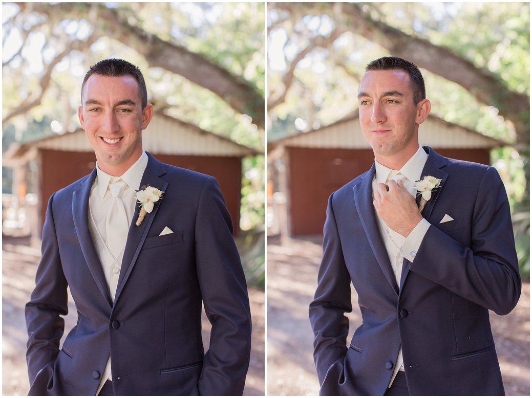 Groom in Navy Suit and Ranunculus Florals