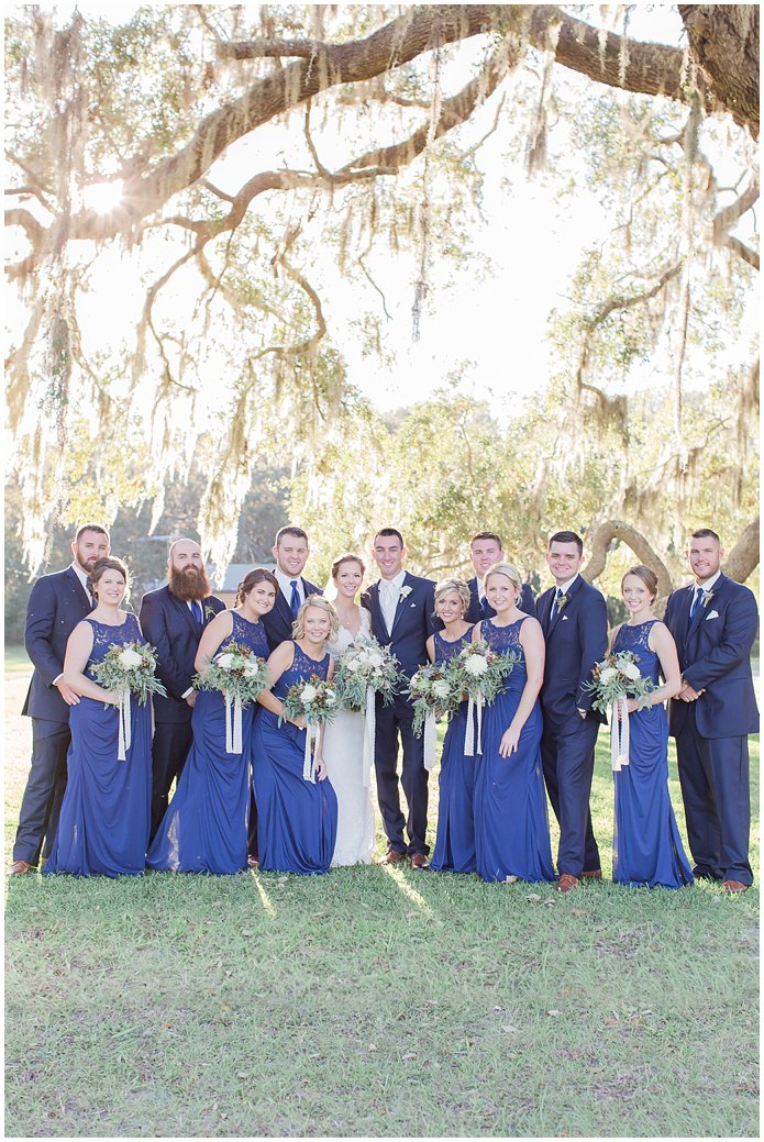 Navy Bridal Party and Groomsmen in Navy Suits