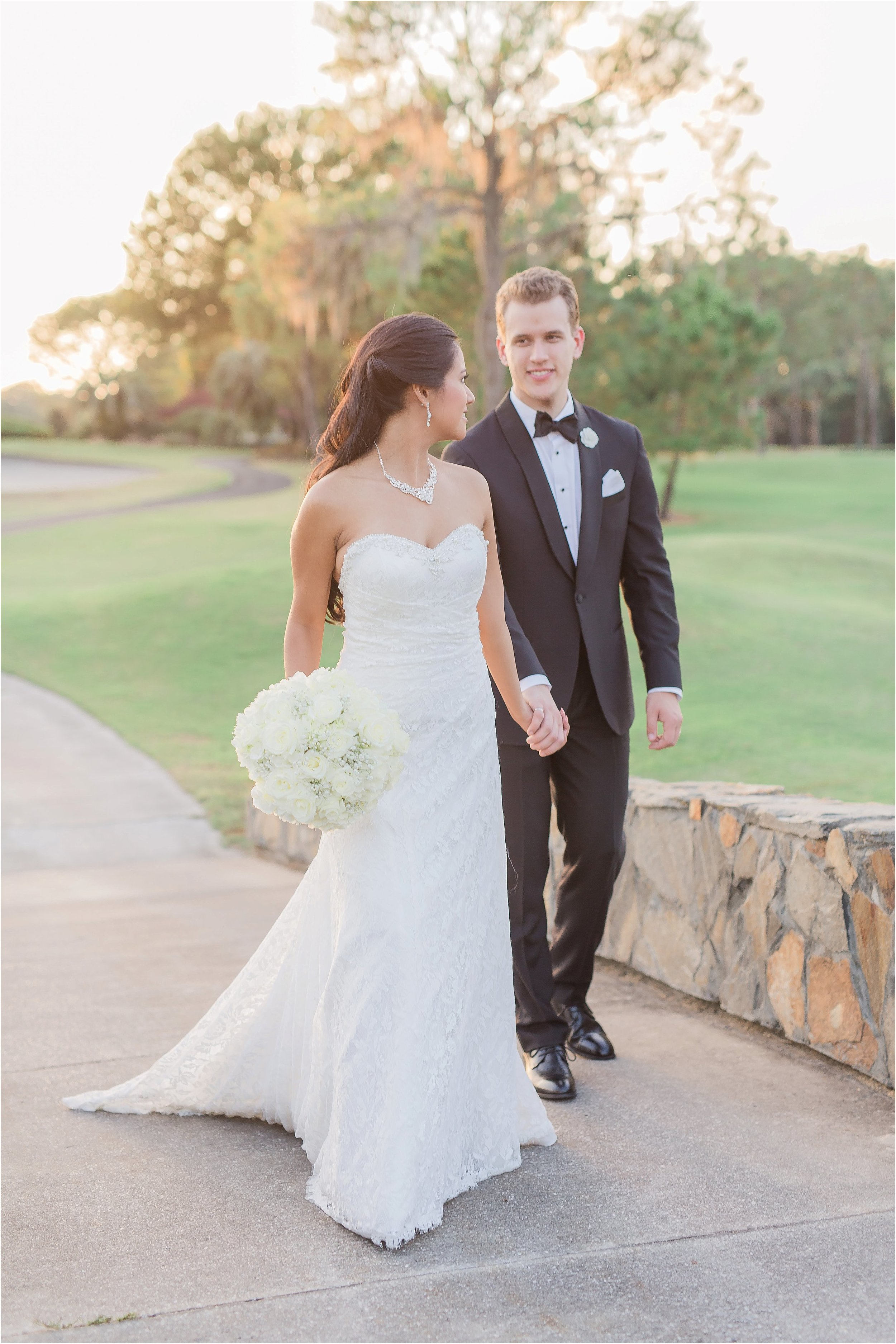 Romantic bride and groom portraits on the bridges at Mission Inn Country Club